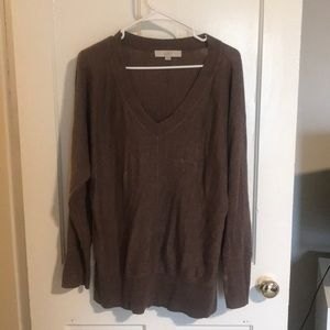 Brown Ann Taylor LOFT v-neck sweater